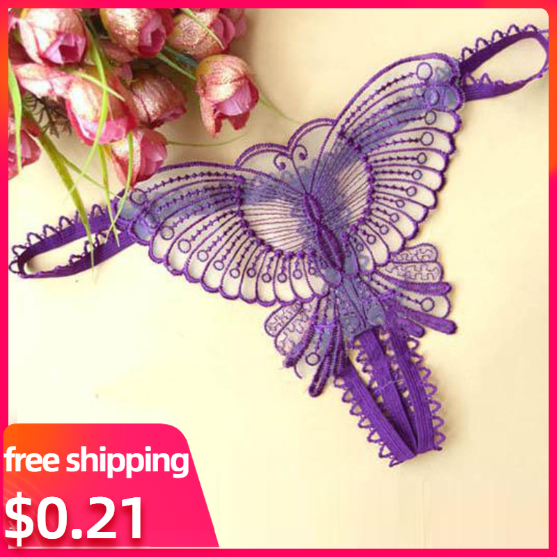 Butterfly Lace Micro Women Opening Crotch Panties Thongs G Strings Transparent Underwear Ladies underwear Lingerie Sexy(China)