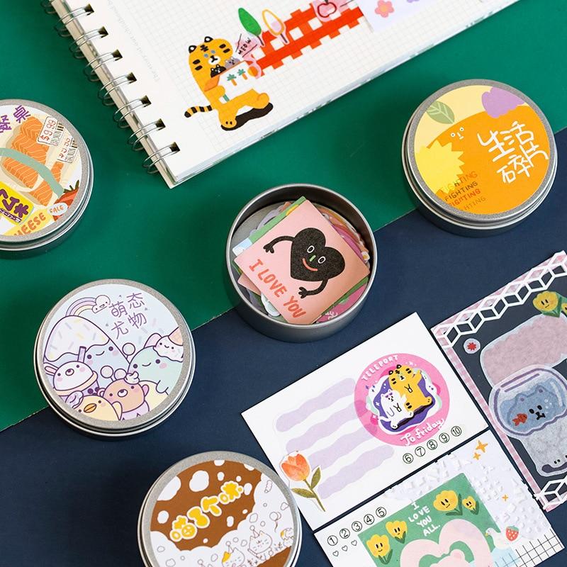 Mohamm 50Pcs/box Cute Animal Food Mini Paper Sticker Flakes Stationary Sticker School Office Accessories