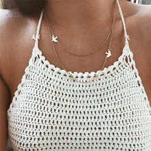 Fashion Jewelry Double Layered Choker Necklace Women Bird Necklace Pendant On Neck Collar Bijoux Femme Gold Clavicle Chain Gifts new fashion metal leaf stone pendant necklace women double layered clavicle choker chain necklace jewelry
