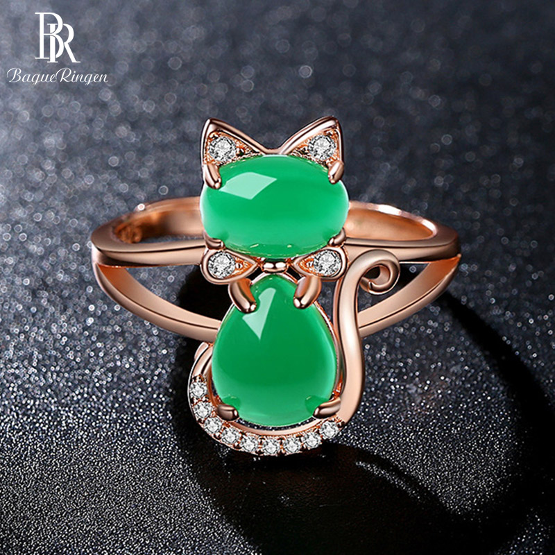 Bague Ringen Delicate Agate Ring for Women Silver 925 Jewelry Gemstones Cute Cat Animal Opening adjustable Rose Gold Color Gifts