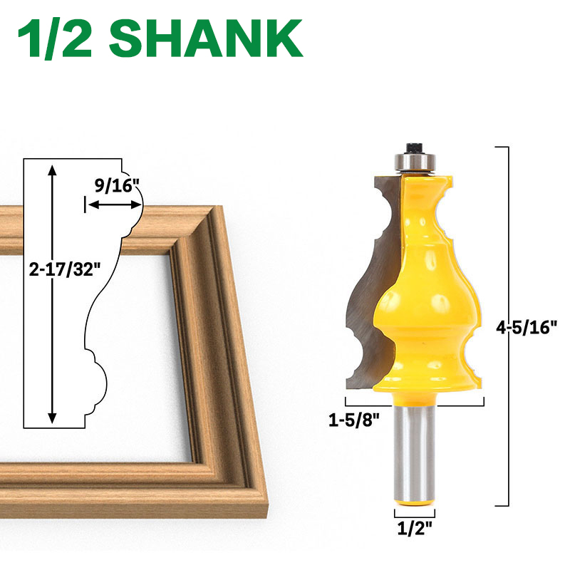 "Image 2 - Large Elegant Picture Frame Molding Router Bit   1/2"" Shank 12mm shank  JGZUI-in Milling Cutter from Tools"