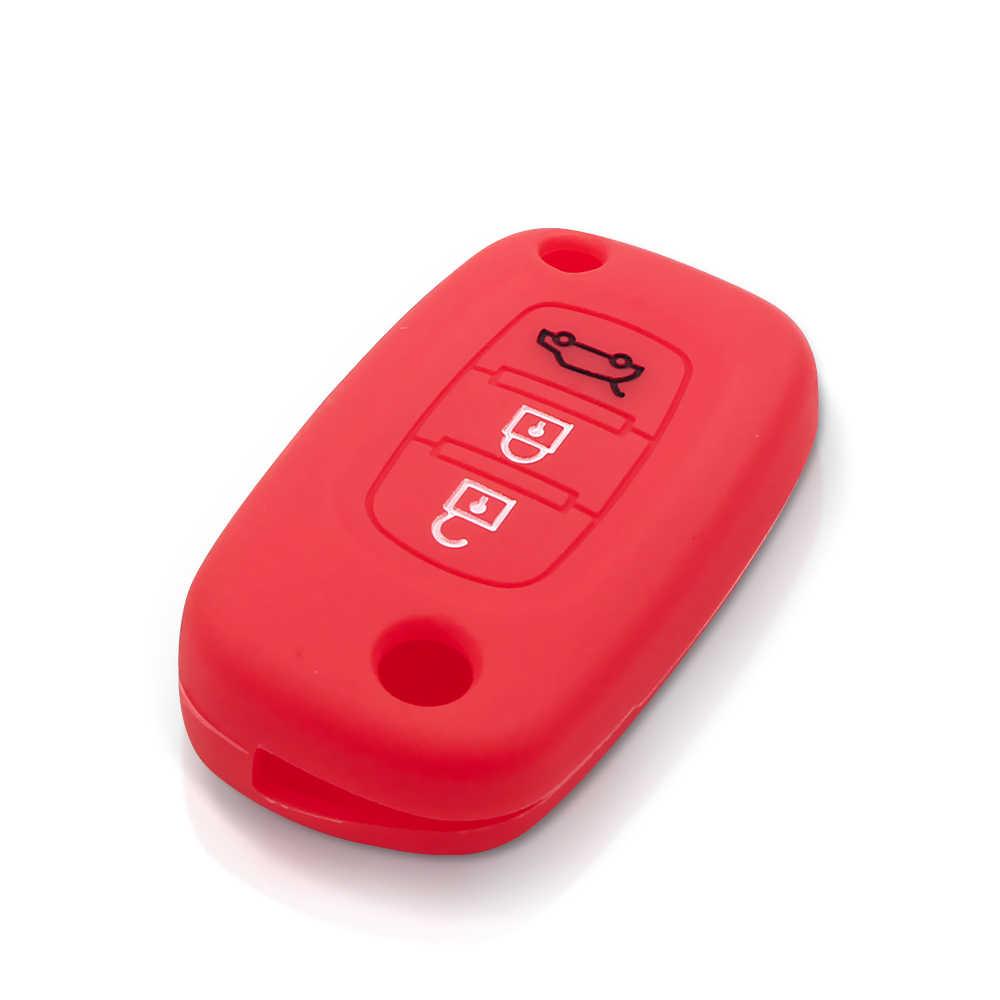 KEYYOU silikonowa obudowa na kluczyk samochodowy Fob 3 przyciski pokrywa dla Renault Megane 3 Fluence Clio dla LADA Priora Sedan sport Granta Vesta XRay