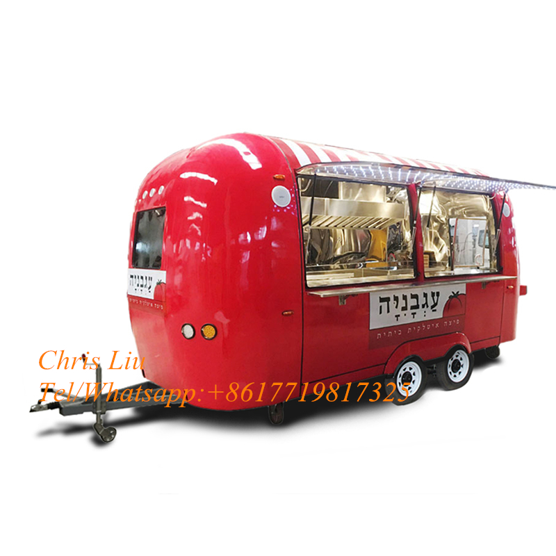 Commercial Mobile Coffee Truck Mobile Kitchen Trailer Street Ice Cream Cart For Sale
