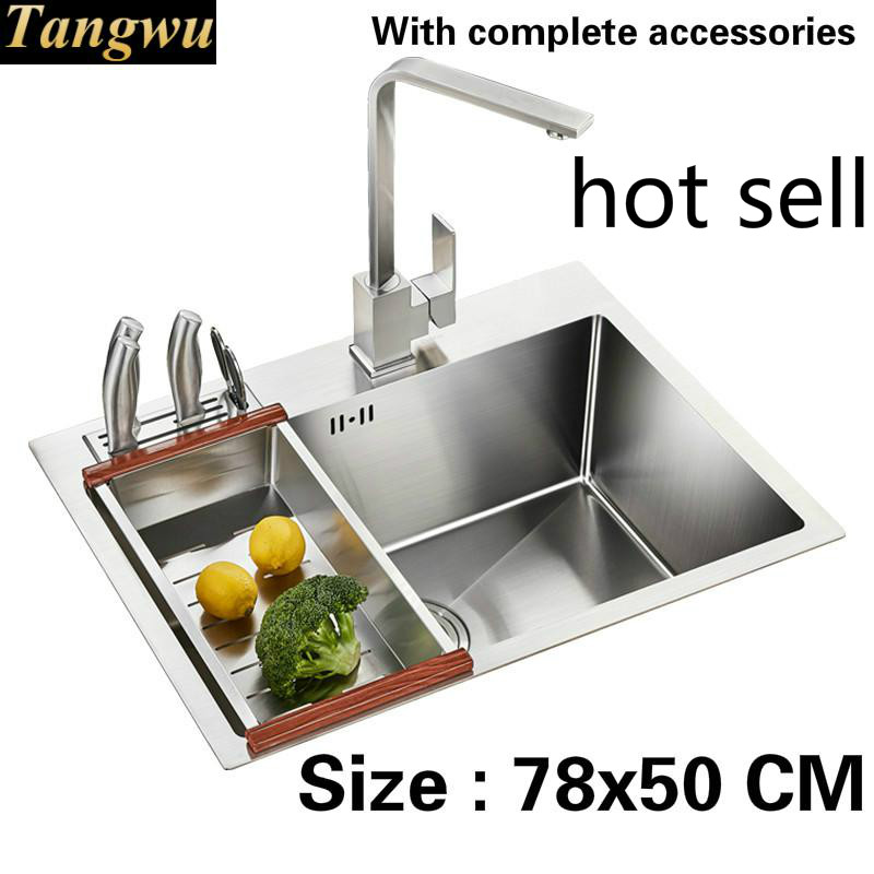 Free Shipping Handmade Ordinary Food Grade 304 Stainless Steel Kitchen Sink Single Slot 3 Mm Thick Durable 78x50 CM