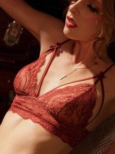 Image 1 - Wriufred feminino rendas ultra fino conjunto de sutiã de sutiã conjunto de sutiã de triângulo de arco senhoras sexy lingerie plus size sutiãs
