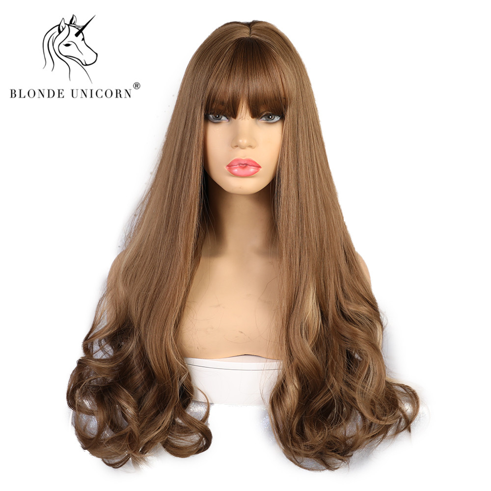 Blonde Unicorn Long Synthetic Wavy Wigs For Black Women African American Long Grey Brown Womens Wigs With Bangs 12 Colors