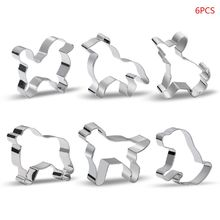 6pcs Stainless Steel Pet Cookie Cutter Mold DIY Fondant Pastry Biscuit 3D Mould ttlife unicorn animal cookie cutter stainless steel fondant cake baking mold sugarcraft chocolate pastry diy tools biscuit mould
