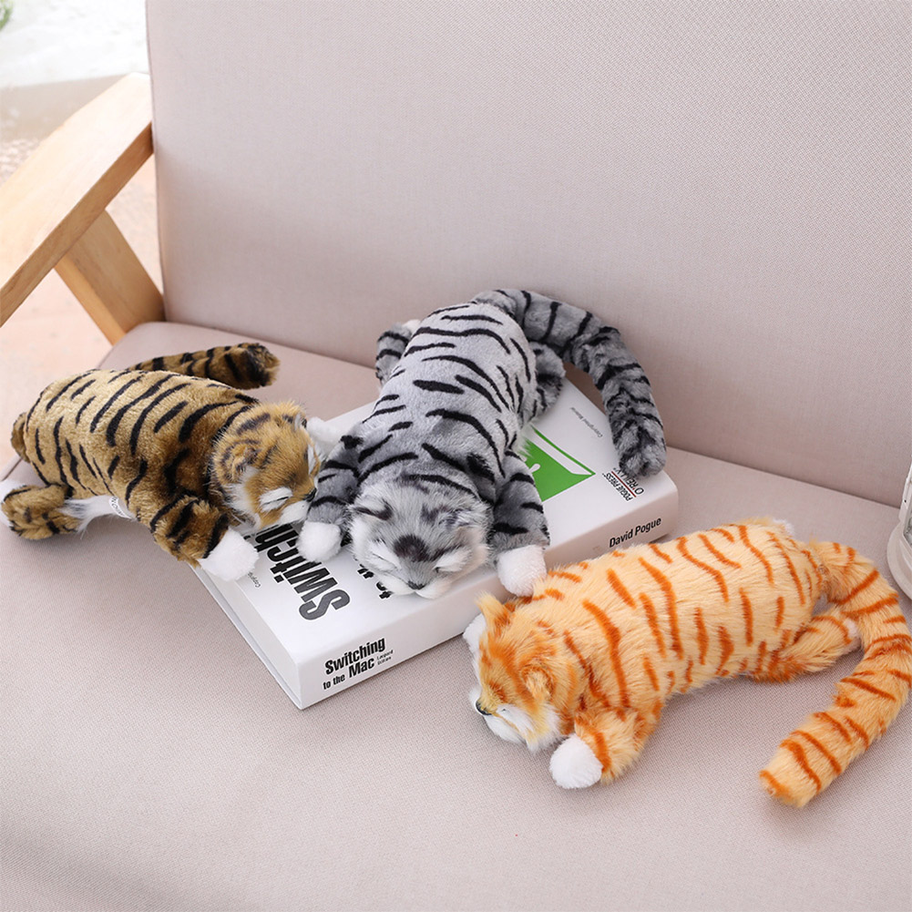 Plush Simulation Cat Toy Lifelike Lovely Cat Doll Electric Rolling Cat for Kids Give Children Best Enlightenment Toy Gift