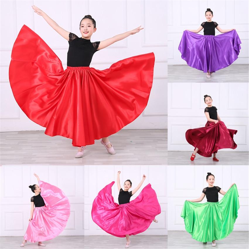 Girls Flamenco Skirts Spanish Dress Dance Chorus Performance Competition Practice Gypsy Skirt Woman Kids Bigdance Costumes