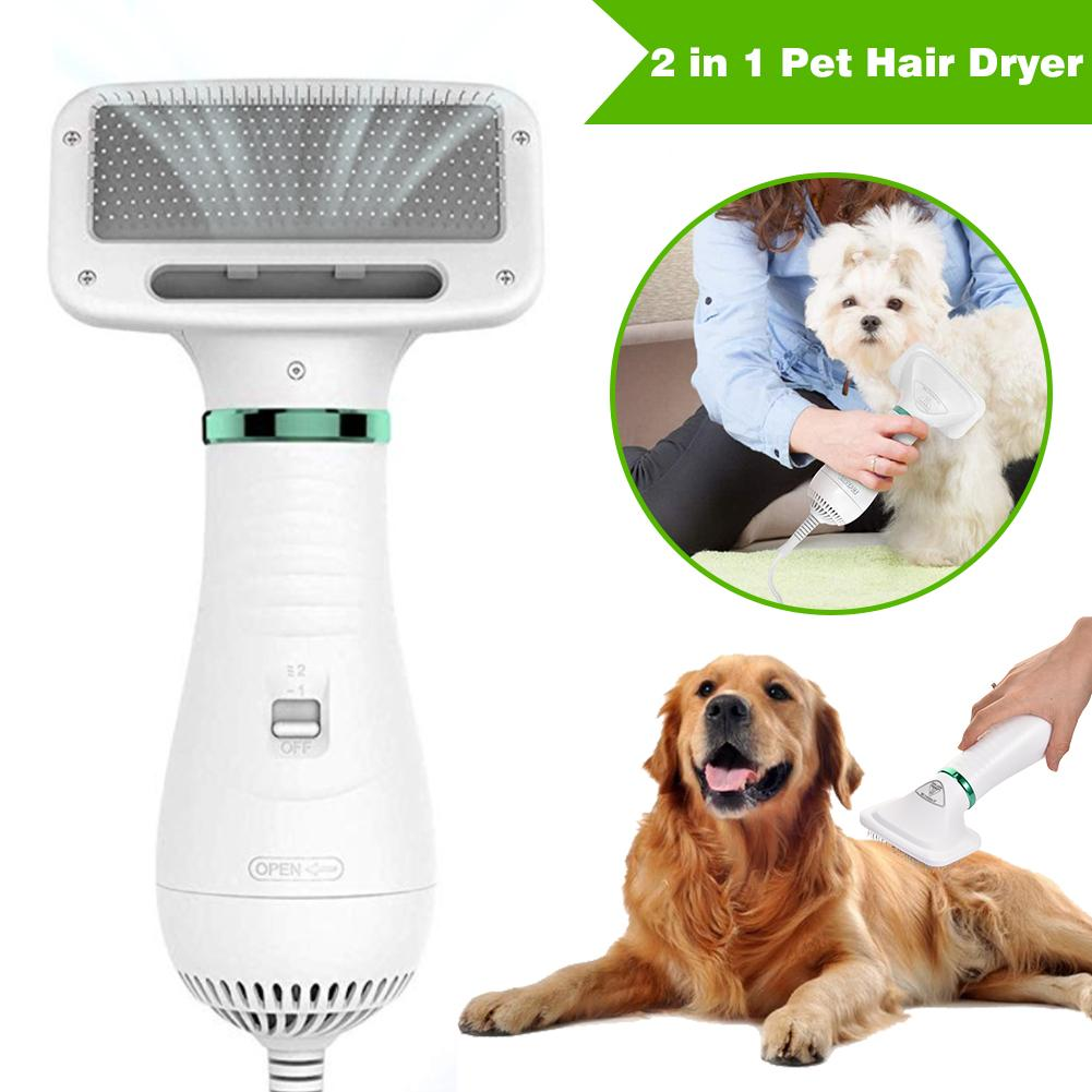 2 In 1 Powerful Durable Dog Hair Dryer Fur Blower Low Temprature & Noise Pet Hair Grooming Comb For Dogs Cats Small Animals