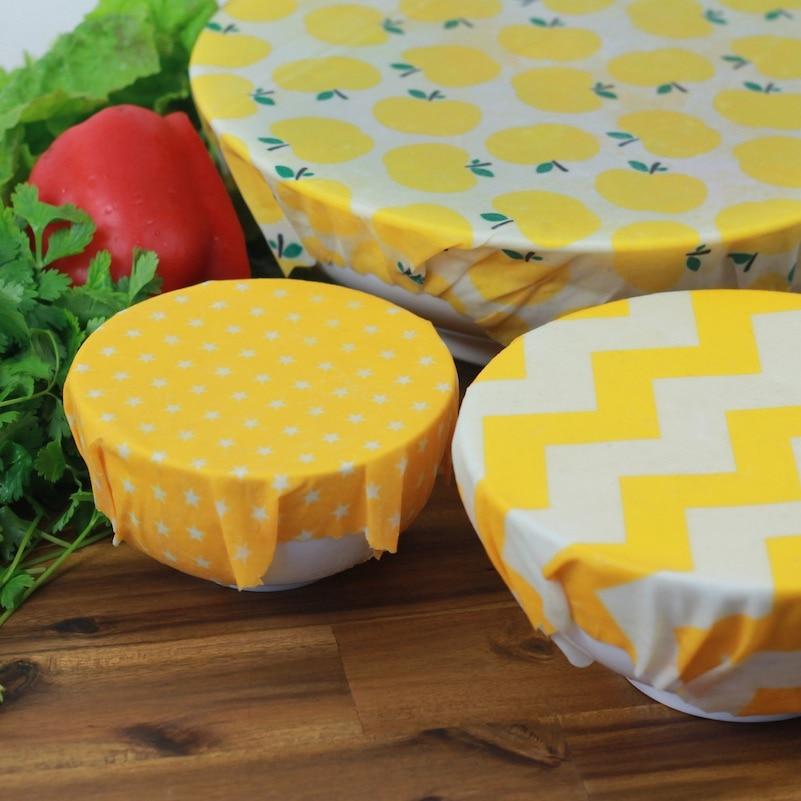 3 opakowanie wosk pszczeli Wrap przyjazne dla środowiska kuchnia Wrap zamiennik organiczny naturalny wosk pszczeli wielokrotnego użytku mieszany wzór wosk pszczeli nakładki do żywności