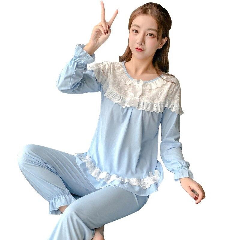 Spring Autumn Long Sleeved Cotton Vintage Women's Pajamas Set Sleepwear Girls Pyjamas Mujer Lady Casual Home Clothing AD094