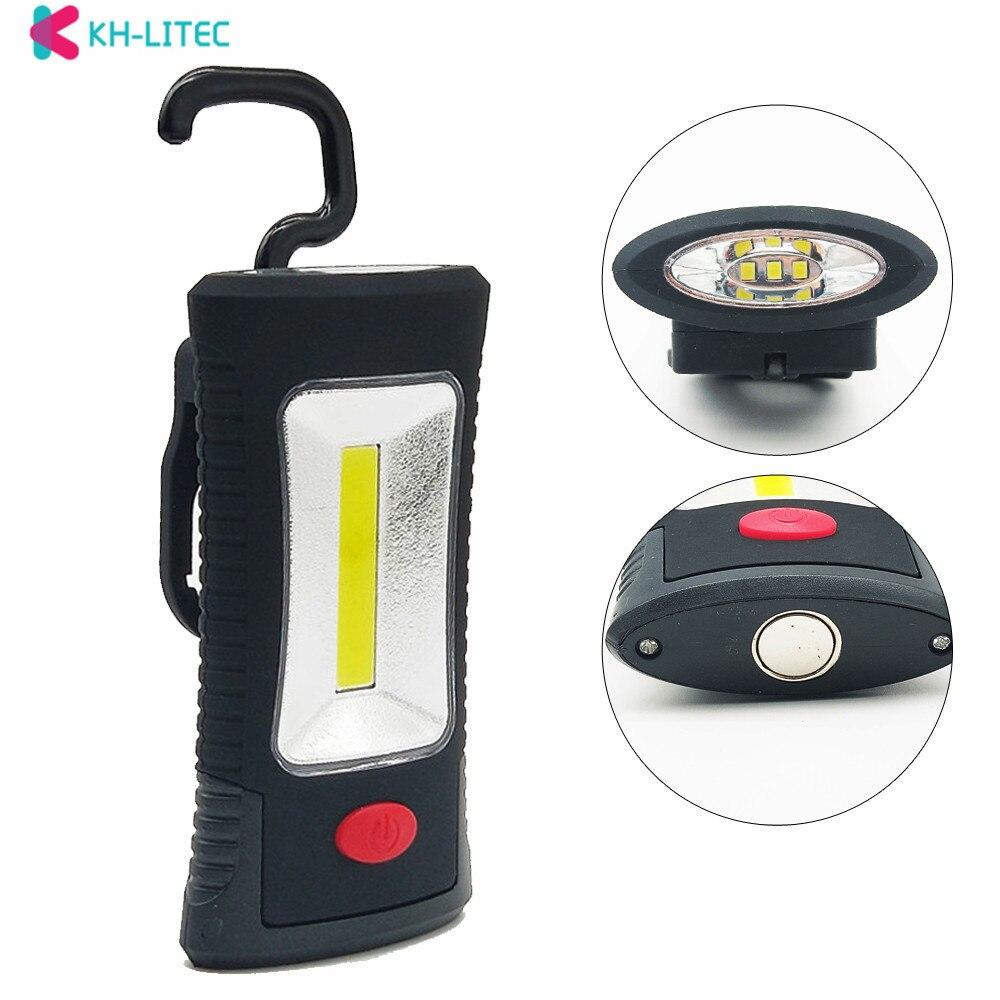 KHLITEC-Multifunctional-Portable-COB-LED-Magnetic-Folding-Hook-Working-Inspection-light-Flashlight-torch-Lanterna-lamp-USE-3xAAA