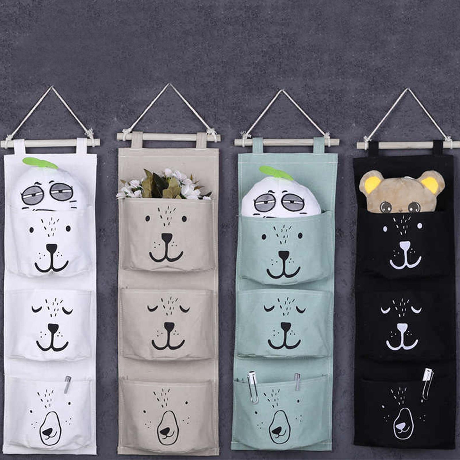 3 Pockets Cute Wall Hanging Storage Bag Linen Clothes Organizer Closet Storage Bag Children Room Organizer Pouch Home Storage ba