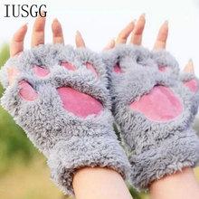 Women Winter Mittens Warm Soft Plush Short Fingerless Paw Plus Gloves Fluffy Bear Cat Costume Claw Kawaii Glov