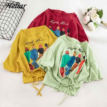 long sleeve scrawl printed v neck tee 2021 Women Cartoon Printed T-shirts Blouse Cartoon Character Short Sleeve Top Loose Summer Clothing V-Neck Tee Women9