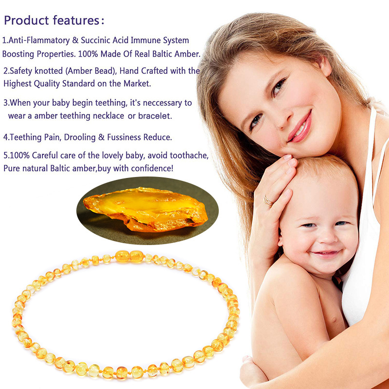 Hot Selling Natural Amber Baby Necklace Baltic Bao Lian Infants Children Teething Necklace