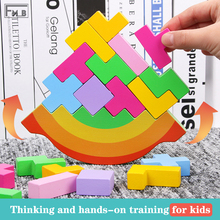 Wooden Tetris Balanced Building Block Toy Color Cognition Hand-eye Coordination Ability Cultivation Montessori Toy loz 150pcs m 9138 pokemon gengar building block educational toy for cooperation ability