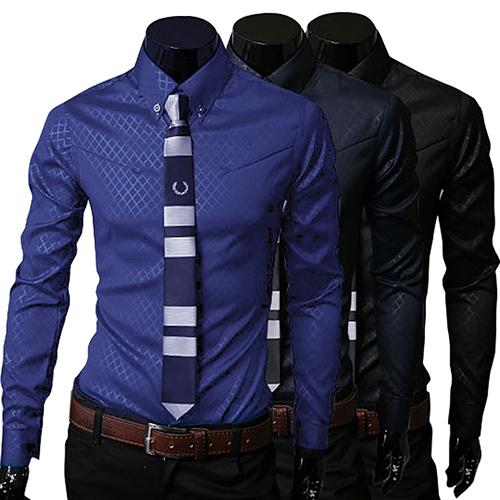 luxury men's shirt Business Style Slim Soft Comfort Slim-Fit Styles Long Sleeve Casual Dress Shirt Gift For Men