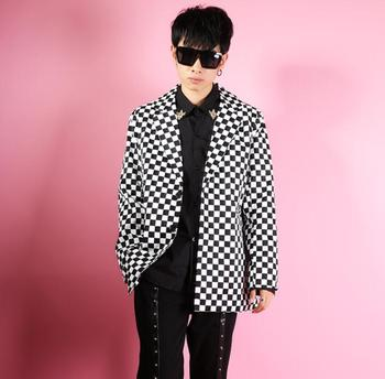 Black and white grid blazer men suits designs Loose retro jacket mens stage costumes singers clothes dance star style dress b
