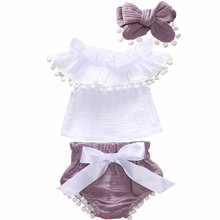 0-24M 3pcs Toddler Baby Girl Clothes Set Ruffle Short Sleeve White Tassels Top +Purple Shorts Bloomers +Headband Outfits Set цены онлайн