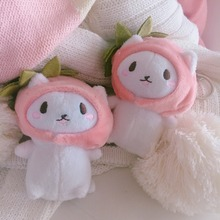 Cute girl heart strawberry hat cat pendant bag key ring hanging plush toy