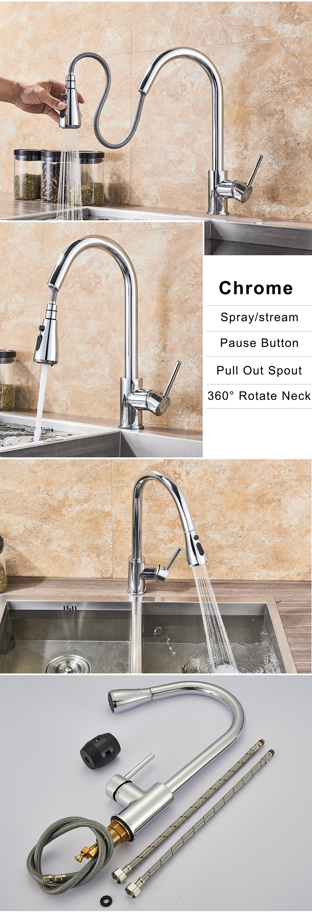Hc4048dd91a94413195352853833afc74a Rozin Brushed Nickel Kitchen Faucet Single Hole Pull Out Spout Kitchen Sink Mixer Tap Stream Sprayer Head Chrome/Black Mixer Tap