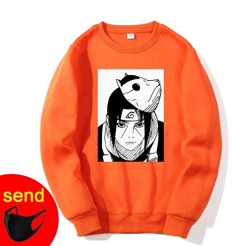 Orange Sweatshirts Naruto Harajuku Japanese Anime Uchiha Itachi Printed Men's Hoodies Male Streetwear Men Brand Hip Hop Coat