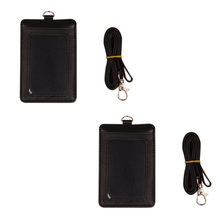 2 шт. держатели значков кожаный Съемный Пряжка Черный ремешок для мужчин и женщин ключи 2-сторонний вертикальный из искусственной кожи ID карты