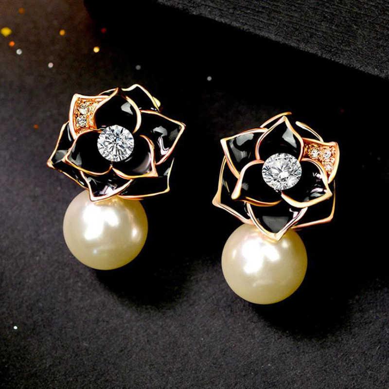 トップ販売天然真珠のイヤリングファッションローズフラワーローズゴールドカラー女性ブラブラドロップイヤリングウェディングパーティージュエリー用 ED0024