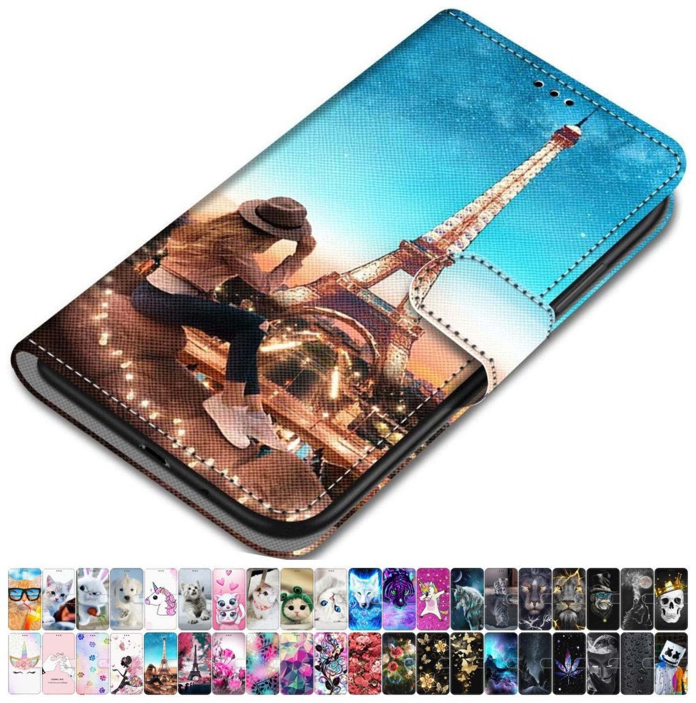 Чехол для LG K8 2018 K9 K50 Q6 Plus Q60, кожаный чехол для телефона с изображением животных, цветов, башни, волка, милой девушки, мальчика, розы, гор, неба ...