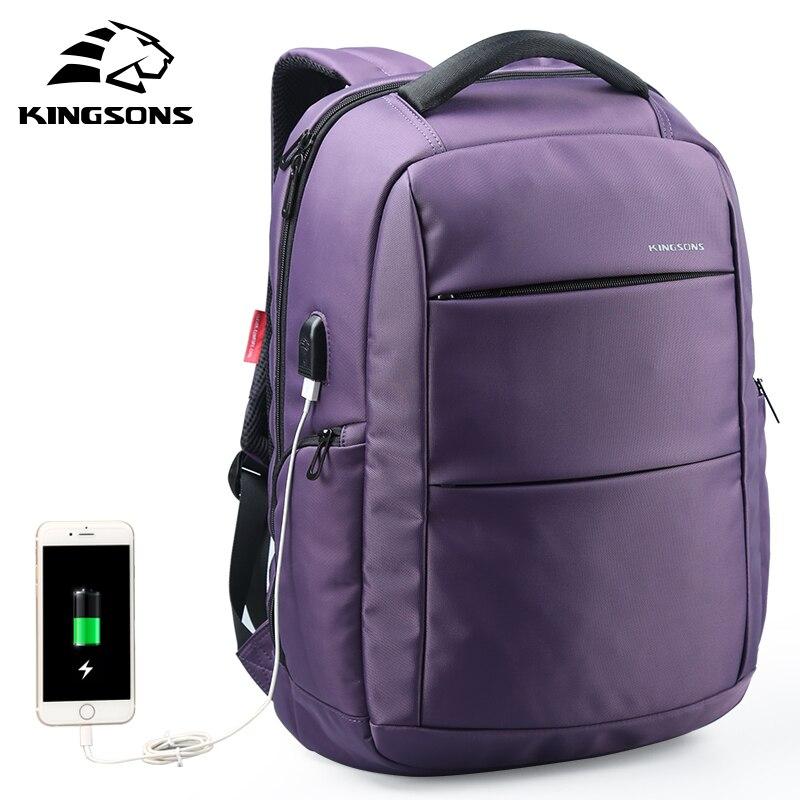 Kingsons chargeur externe USB fonction sac à dos pour ordinateur portable Anti-vol femmes d'affaires Dayback voyage sac 15.6 pouces KS3142W