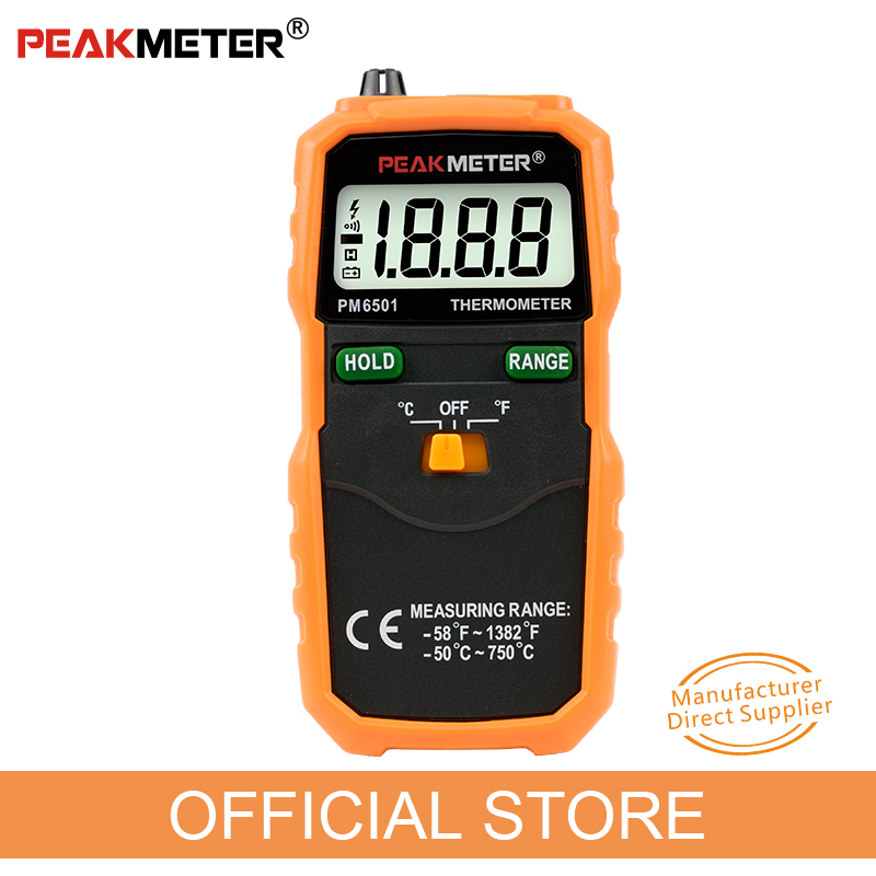 Offizielle PEAKMETER PM6501 LCD Display Digital <font><b>Thermometer</b></font> mit <font><b>K</b></font> Typ Thermoelement Termometro mit Daten Halten image