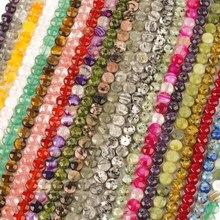 21 cores de pedra natural facetada plana redonda contas soltas redondas 8mm diy fazendo pulseira colar jóias acessórios