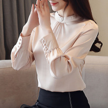 Autumn blouse women 2019 ladies tops long sleeve white shirts solid blusas femininas chiffon Button Stand plus size 0322