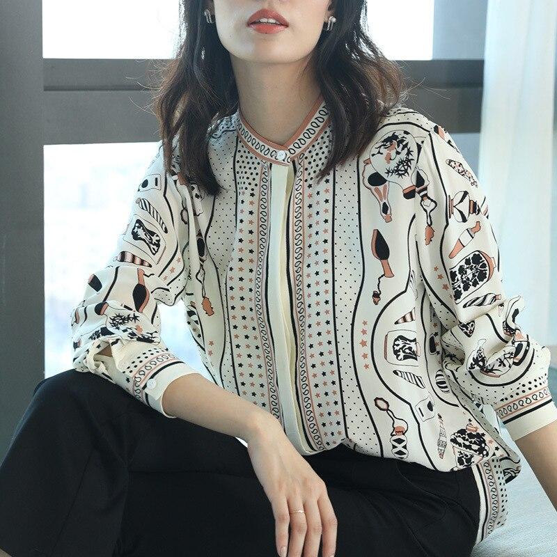 100% Echte Zijde Blouse Vrouwen Kleding 2020 Lente Zomer Shirt Koreaanse Luipaard Shirts Elegant Dames Tops En Blouses ZT2314