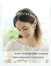 Beautiful Bride Hair Band Wedding Accessories Headdress Female Ornament Handmade Crystal Flower Bridal Jewelry
