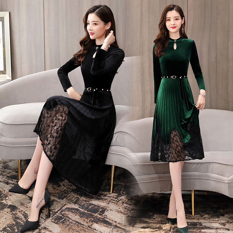 Gold Velvet Dress 2019 Spring And Autumn New Style Women's Slim Fit Slimming Mid-length Underwear Lace Joint Base Skirt