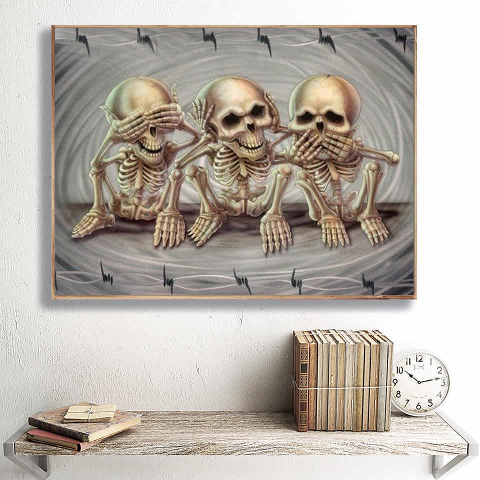 Diamante Del Ricamo Del Cranio Icona 5D FAI DA TE Disegni e schemi per puntocroce Mosaico di Arte Immagine di Strass Regalo di Halloween Complementi Arredo Casa