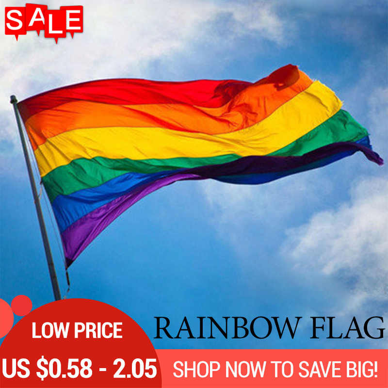 Gay Pride Flag Rainbow Lgbt Lesbian Flags Banners Pansexual Garden Polyester Colorful Flag Home Gardening Decoration Tools