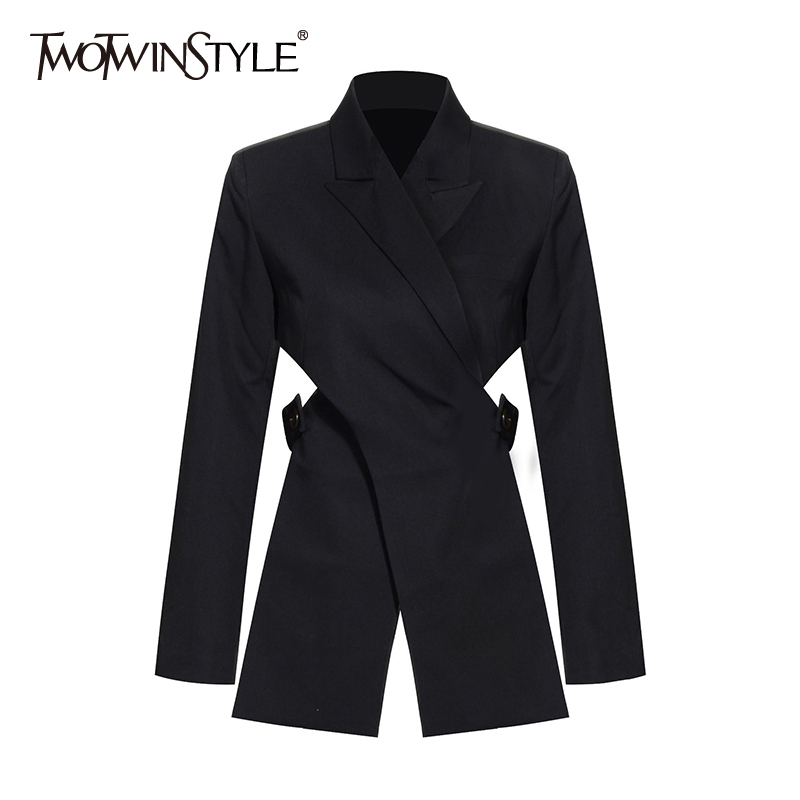 TWOTWINSTYLE Casual Patchwork Women Blazer Notched Long Sleeve High Waist Waistless Irregular Suits Female Fashion Clothing New
