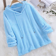 Hoodies Women 2019 Winter Autumn Solid Color Long-sleeved Hooded Pullover Pajamas Double Faced Fuzzy Fur Sweatshirt Plus Size