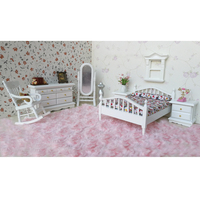 European Style 1/12 Miniature Wooden Bedroom Furniture Kit Bed Sofa Cushions Dresser Mirror for Dolls House Decor