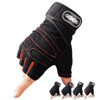 1 par prático esportes fitness antiderrapante respirável metade dedo luvas de esportes ao ar livre anti-suor ciclismo luva 1