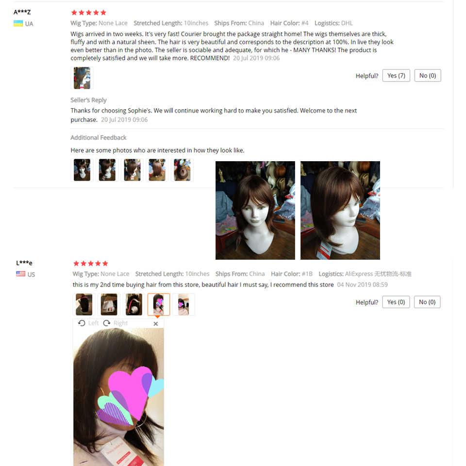 Sophie düz peruk Remy brezilyalı insan saçı kadınlar için 100% İnsan saç makine yapımı hiçbir koku 10 inç, 1B ,# 4,99J