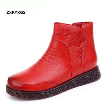 2019 New Autumn Fashion Women Boots Embroidered Genuine Leather Shoes Flat Tide Boots Plus Plush Warm Winter Boots Large Size