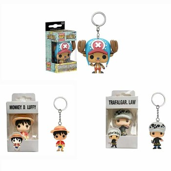FUNKO POP Pocket Keychain Anime ONE PIECE Luffy Chopper LAW Action Figure Toys Decoration Key Ring for Kids Gifts 1