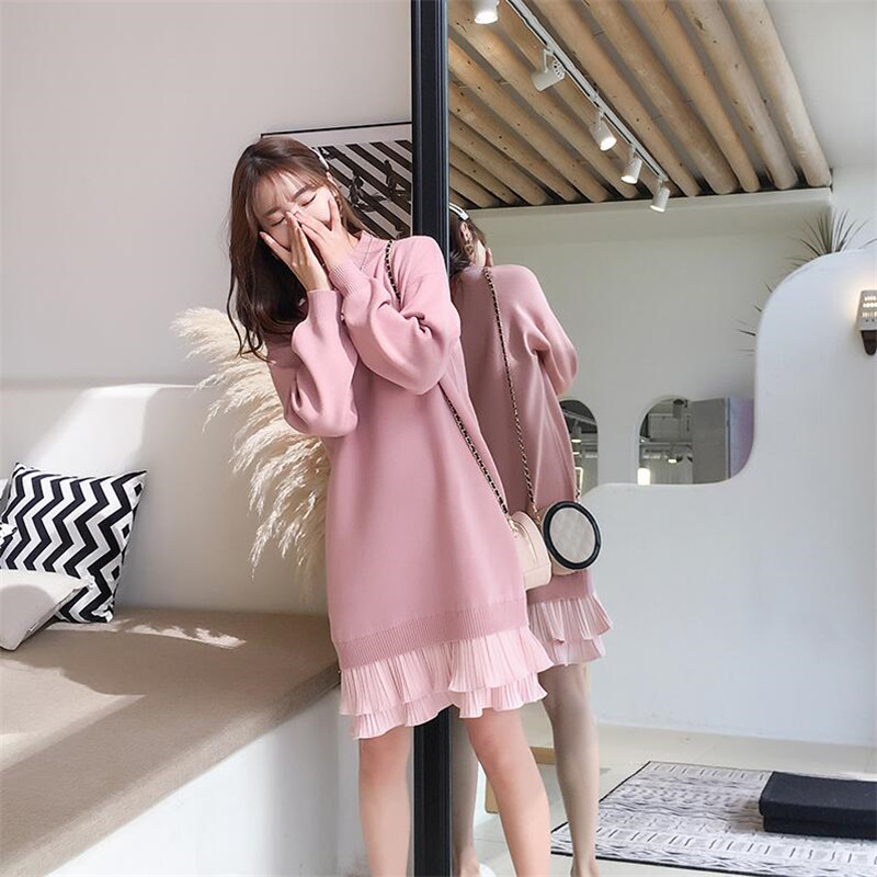 Sweater Dress Female Long Section 2019 Autumn And Winter New Set Of Loose Half-high Collar Sweater Dress
