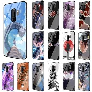 Uchiha Sasuke Uzumaki Naruto Tempered Glass phone case for Samsung S7 Edge S8 S9 S10 Note 8 9 10 plus A10 20 30 40 50 60 70(China)