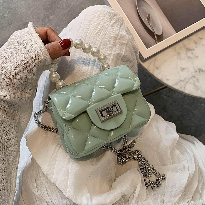 New Women Messenger Bags Pearl Portable Luxury Handbags Women Bag Designer Jelly Bag Fashion Females PVC Shoulder Crossbody Bags